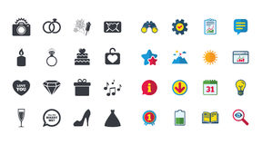 Set of Wedding and Engagement icons. Royalty Free Stock Photos