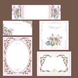 Set of  Wedding floral  cards. Stock Photography