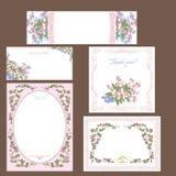 Set of Wedding floral cards. Decorative ornamental floral l borders.Set of of floral cards for any occasion vector illustration