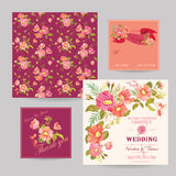 Set of Wedding Floral Invitation Cards. Save the Date, RSVP, Thank you - in vector Royalty Free Stock Photography