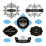 Set of wedding frames and labels Royalty Free Stock Photos