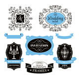 Set of wedding frames and labels Stock Photography