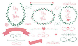 Set of Wedding Graphic Elements with Arrows, Royalty Free Stock Photos