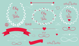 Set of Wedding Graphic Elements with Arrows, Royalty Free Stock Photo
