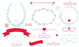 Set of Wedding Graphic Elements with Arrows, Royalty Free Stock Photography