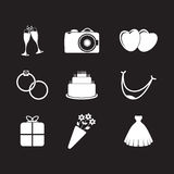 Set of wedding icons Stock Photos