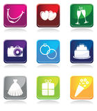 Set of wedding icons Stock Photography