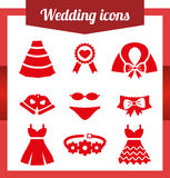 Set wedding icons. Bell Dress garter wedding underwear coat cloak sash belt medal Flat on white background stock illustration