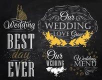 Set Wedding icons. Chalk. Set Wedding lettering stylized drawing with chalk of gold on the blackboard Stock Image