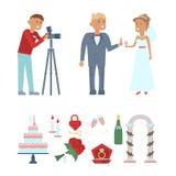 Set of wedding icons Stock Images