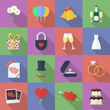Set of wedding icons. Flat style Stock Image