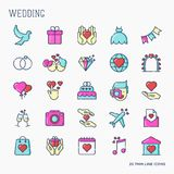 Set of wedding icons in line style for invitation vector illustration
