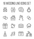 Set of wedding icons in modern thin line style. Stock Images