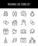 Set of wedding icons in modern thin line style. Royalty Free Stock Photos