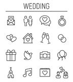 Set of wedding icons in modern thin line style. High quality black outline celebration symbols for web site design and mobile apps. Simple wedding pictograms Royalty Free Stock Images