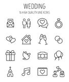 Set of wedding icons in modern thin line style. Stock Photography