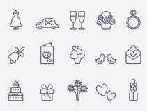 Set of 15 wedding icons Royalty Free Stock Images