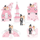 Set of wedding illustration. Bride and groom to their honeymoon, isolated on white background vector illustration