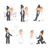 Set of wedding illustration. Bride and groom in love, isolated on white background. Hand drawing Stock Photos