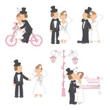 Set of wedding illustration. Bride and groom in love, isolated on white background. Hand drawing Royalty Free Stock Photos