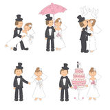 Set of wedding illustration. Bride and groom in love, isolated on white background. Hand drawing Stock Image