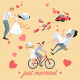 Set of wedding illustrations of a couple and wedding car in cartoon style. Stock Images