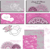 Set of wedding invitation with angels and laces Royalty Free Stock Photography