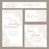 Set of wedding, invitation or anniversary cards with romantic floral background. And sample text. Subtle pastel tints and elegant linear ornament Royalty Free Stock Images