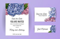 Set of wedding invitation card with blue and pink flowers Hydrangea. A5 Card design template on white background with hand-drawing stock illustration
