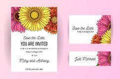 Set of wedding invitation card with flowers of gerbera. A5 wedding invitation design template on white background. Natural pink royalty free illustration