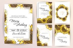 Set of wedding invitation card flowers Sunflower. A5 wedding invitation design template on white background.  Hand drawn stock illustration