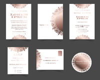 Set of Wedding Invitation Card. Laser Cut Collection. Rose Gold Style. Muslim wedding Card. Vector/Illustration royalty free illustration