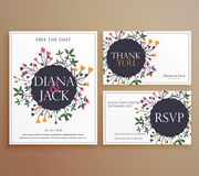 Set of wedding invitation card suite with flower decoration. Illustration Stock Image