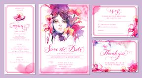 Set of wedding invitation card templates - watercolor beautiful. Woman and pink orchid flowers. Elegant layout, fashion illustration and message for wedding vector illustration