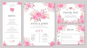Set of wedding invitation card templates with watercolor rose flowers. Elegant romantic layout with pink roses and message for wedding greeting, Save the date Royalty Free Stock Images