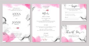 Set of wedding invitation card templates with watercolor rose flowers. Elegant romantic layout with pink roses and message for wedding greeting, Save the date Stock Photo