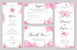 Set of wedding invitation card templates with watercolor rose flowers. Elegant romantic layout with pink roses and message for wedding greeting, Save the date Royalty Free Stock Photography