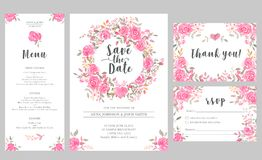 Set of wedding invitation card templates with watercolor rose flowers. Elegant romantic layout with pink roses and message for wedding greeting, Save the date Stock Photos