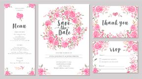 Set of wedding invitation card templates with watercolor rose flowers. Elegant romantic layout with pink roses and message for wedding greeting, Save the date Stock Photography