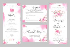 Set of wedding invitation card templates with watercolor rose flowers. Elegant romantic layout with pink roses and message for wedding greeting, Save the date Royalty Free Stock Photo