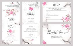 Set of wedding invitation card templates with watercolor rose flowers. Elegant romantic layout with pink roses and message for wedding greeting, Save the date vector illustration