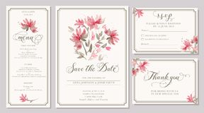 Set of wedding invitation card templates with watercolor stylize. Set of wedding invitation card templates with watercolor pink dahlia. Elegant romantic layout royalty free illustration