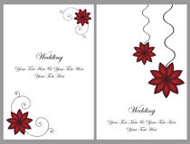 Set wedding invitation cards. A set of two wedding invitation cards with red flowers isolated on grey.Other wedding sets in my portfolio.EPS file available Royalty Free Stock Images