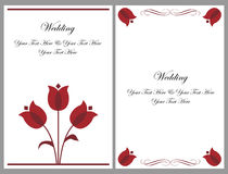 Set wedding invitation cards. A set of two wedding invitation cards with stylized red tulips isolated on grey.Other wedding sets in my portfolio.EPS file Stock Photo