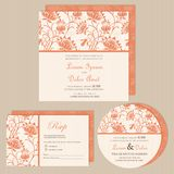 Set of wedding invitation cards or announcements. With beautiful flowers (invitation, save the date card, RSVP card). Vector illustration Royalty Free Stock Photo