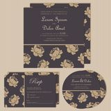 Set of wedding invitation cards or announcements. With beautiful flowers (invitation, save the date card, RSVP card). Vector illustration Royalty Free Stock Images
