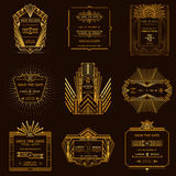 Set of Wedding Invitation Cards - Art Deco Stock Image