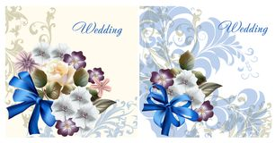 Set of wedding invitation cards for design royalty free illustration