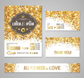 Set of wedding invitation cards design Royalty Free Stock Images