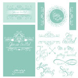 Set of Wedding invitation cards with floral elements Stock Photography